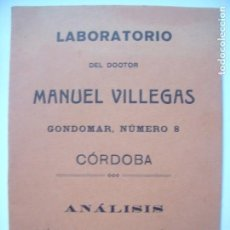 Libros antiguos: MANUEL VILLEGAS.-LABORATORIO.-ANALISIS QUIMICOS Y BACTERIOLOGICOS.-AUTOVACUNAS.-CORDOBA.-AÑO 1924.. Lote 147515714