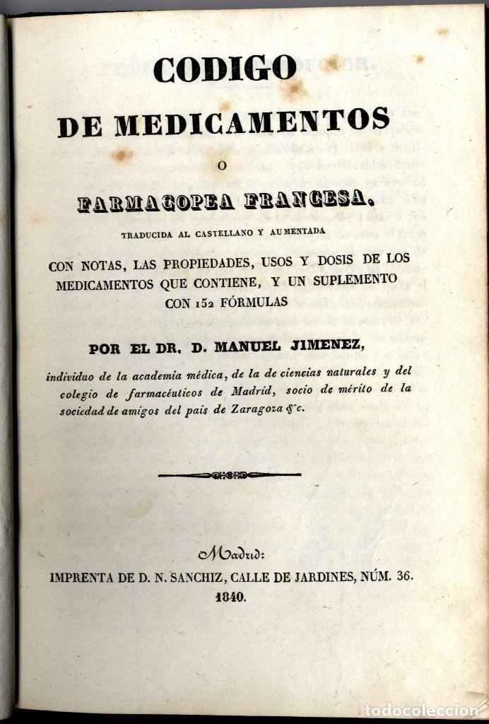 Libros antiguos: FARMACIA FARMACOPEA FRANCESA JIMENEZ MANUEL MADRID 1840 433 PGS - Foto 2 - 149583714