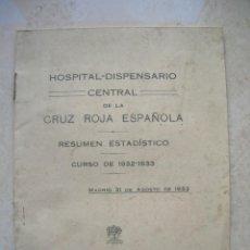 Libros antiguos: HOSPITAL-DISPENSARIO CENTRAL DE LA CRUZ ROJA ESPAÑOLA. RESUMEN ESTADÍSTICO.CURSO 1932-1933.MADRID.. Lote 150143274
