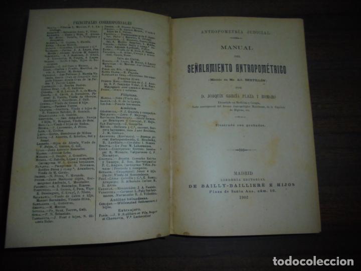 Libros antiguos: MANUAL DEL SEÑALAMIENTO ANTROPOMÉTRICO. D. JOAQUIN GARCIA PLAZA Y ROMERO. 1902. - Foto 7 - 150750518