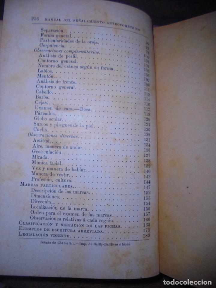 Libros antiguos: MANUAL DEL SEÑALAMIENTO ANTROPOMÉTRICO. D. JOAQUIN GARCIA PLAZA Y ROMERO. 1902. - Foto 10 - 150750518