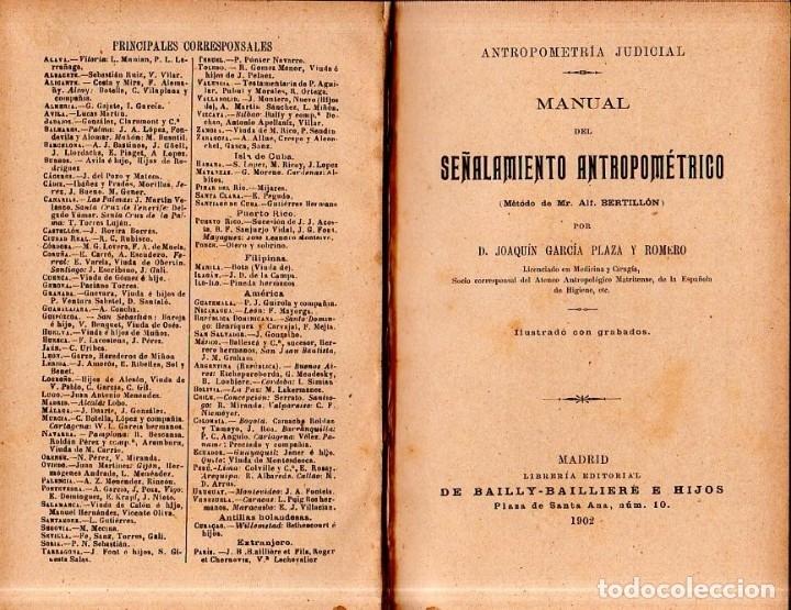 Libros antiguos: MANUAL DEL SEÑALAMIENTO ANTROPOMÉTRICO. D. JOAQUIN GARCIA PLAZA Y ROMERO. 1902. - Foto 2 - 150750518