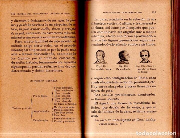 Libros antiguos: MANUAL DEL SEÑALAMIENTO ANTROPOMÉTRICO. D. JOAQUIN GARCIA PLAZA Y ROMERO. 1902. - Foto 5 - 150750518