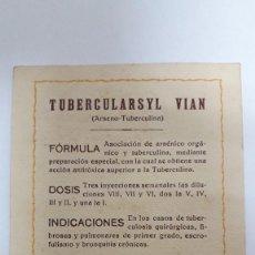 Libros antiguos: TAJETA PUBLICITARIA TUBERCULARSYL / PRODUCTOS DEL DOCTOR B. ROIG PERELLÓ/ A DOS CARAS / AÑO 1930. Lote 152054034