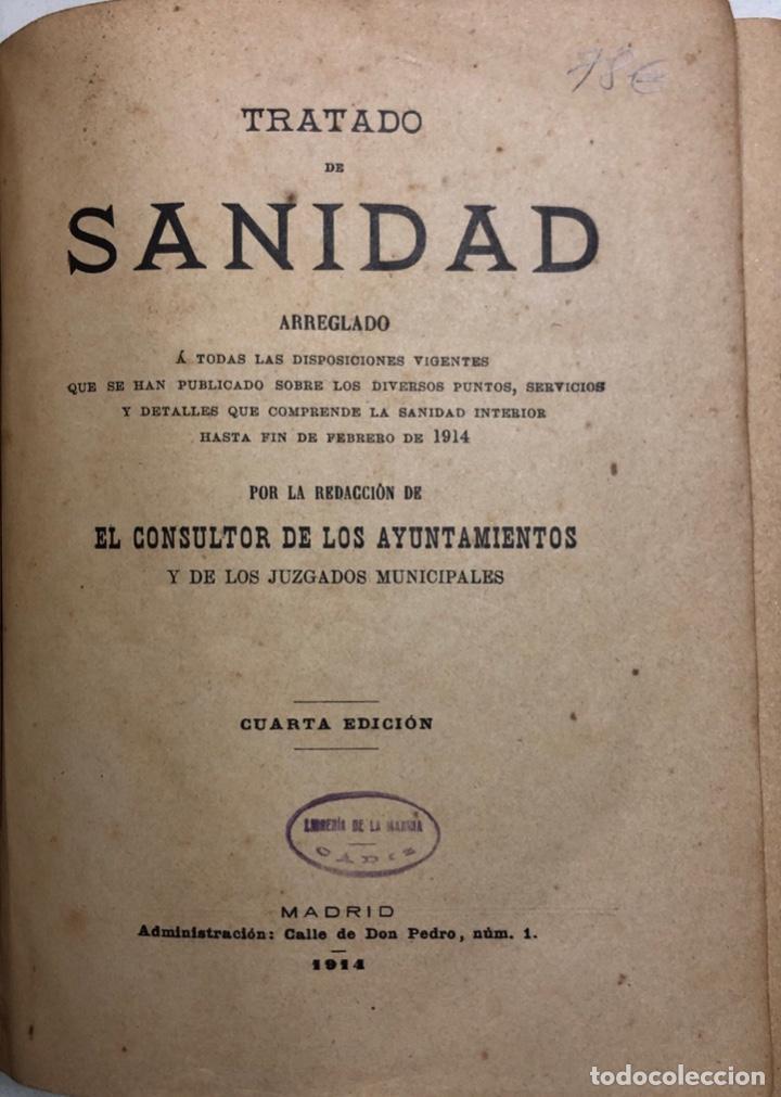 Libros antiguos: TRATADO DE SANIDAD. IMPRENTA EL CONSULTOR. MADRID 1914. PAGS 747. - Foto 3 - 156469674