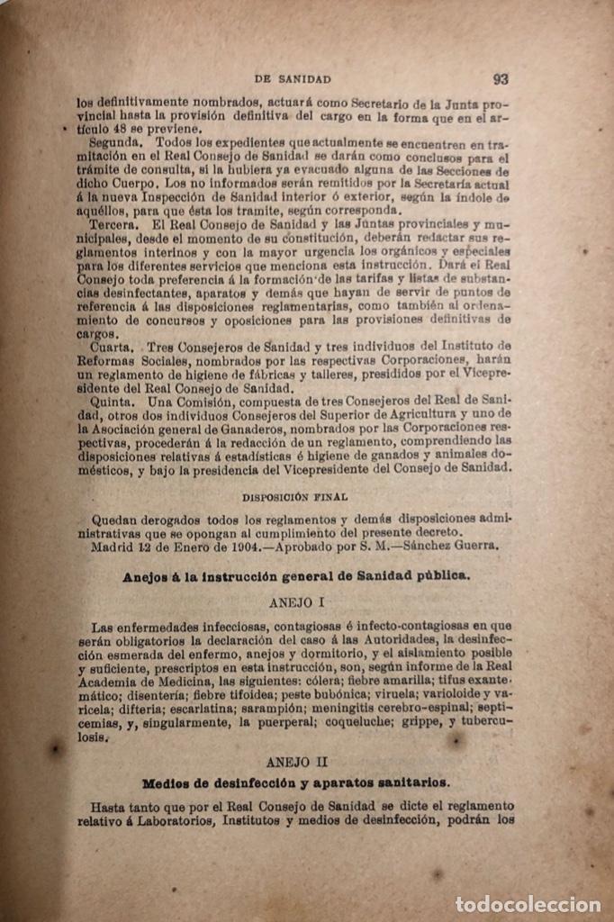 Libros antiguos: TRATADO DE SANIDAD. IMPRENTA EL CONSULTOR. MADRID 1914. PAGS 747. - Foto 5 - 156469674