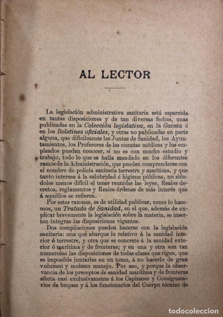 Libros antiguos: TRATADO DE SANIDAD. IMPRENTA EL CONSULTOR. MADRID 1914. PAGS 747. - Foto 6 - 156469674