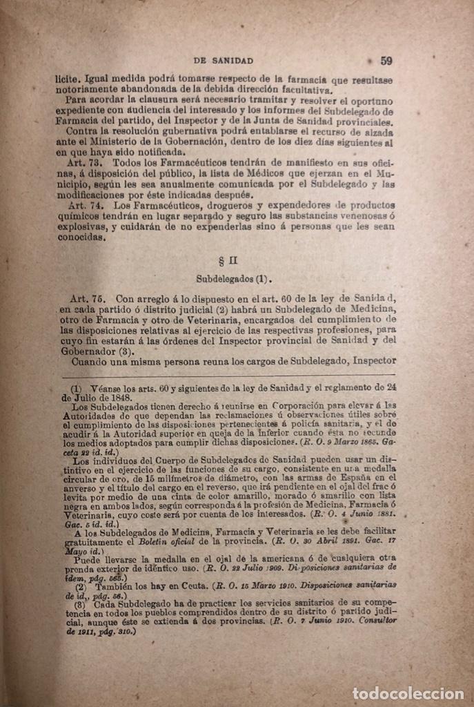 Libros antiguos: TRATADO DE SANIDAD. IMPRENTA EL CONSULTOR. MADRID 1914. PAGS 747. - Foto 7 - 156469674