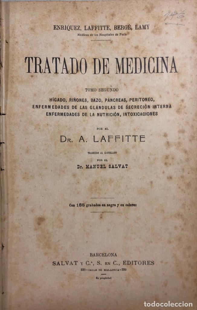 TRATADO DE MEDICINA. TOMO II. MANUEL SALVAT. EDITORIAL SALVAT. BARCELONA. PAGS 912. (Libros Antiguos, Raros y Curiosos - Ciencias, Manuales y Oficios - Medicina, Farmacia y Salud)