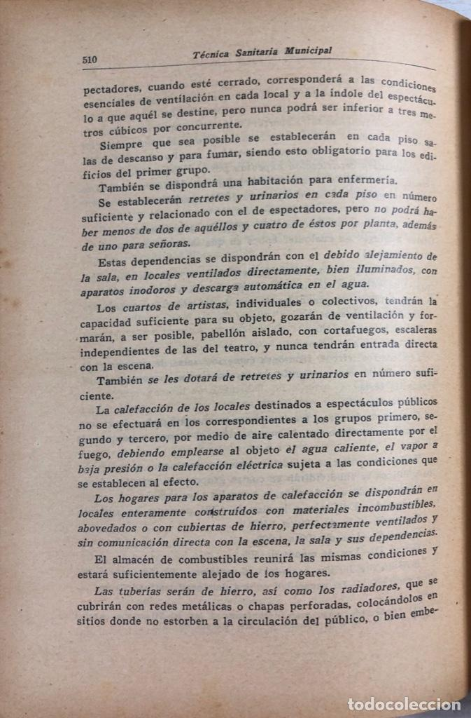Libros antiguos: LOTE DE TECNICA SANITARIA MUNICIPAL. TOMOS I Y II. DOCTOR BECARES. VALLADOLID 1935. - Foto 5 - 156493138