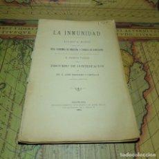 Libros antiguos: DISCURSO LA INMUNIDAD. D. RAMÓN TURRÓ. REAL ACADEMIA DE MEDICINA Y CIRUGÍA DE BARCELONA 1894.. Lote 158602758