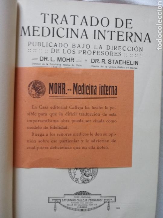 Libros antiguos: Libros TRATADO DE MEDICINA INTERNA DR. L MOHR Y DR. STAEHELIN 1915. 8 TOMOS - Foto 4 - 159096164