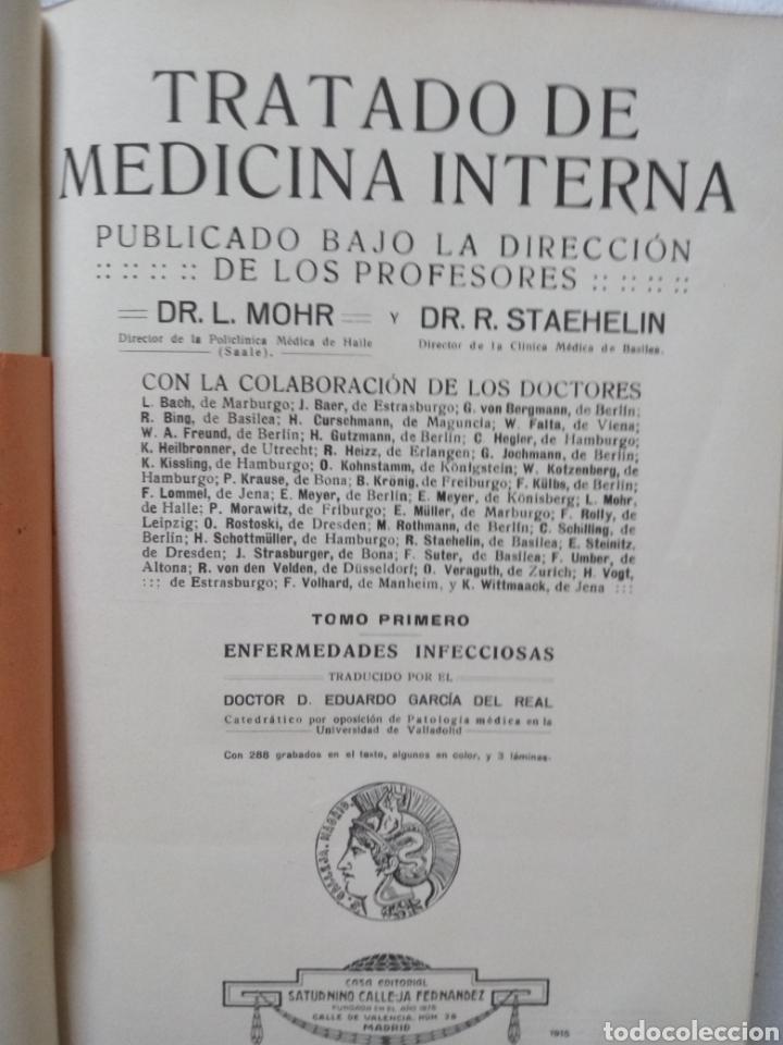 Libros antiguos: Libros TRATADO DE MEDICINA INTERNA DR. L MOHR Y DR. STAEHELIN 1915. 8 TOMOS - Foto 5 - 159096164