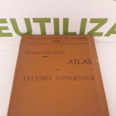 Libros antiguos: ATLAS ILUSTRADO DE MEDICINA.TOMO 1.ATLAS DE ANATOMÍA TOPOGRAFICA.. Lote 160850378