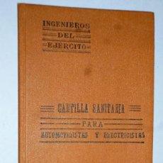 Libros antiguos: CARTILLA SANITARIA PARA AUTOMOVILISTAS Y ELECTRICISTAS. Lote 165136398