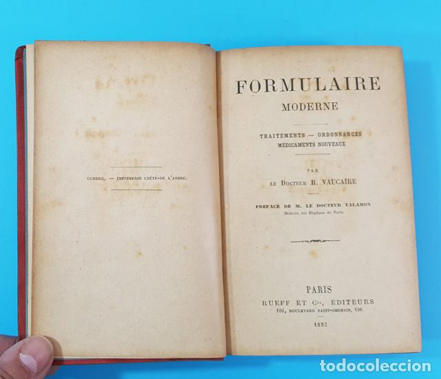 Libros antiguos: FORMULAIRE MODERNE DOCTEUR VAUCAIRE TRAITEMENTS ORDONNANCES MEDICAMENTS,FORMULARIO MEDICAMENTOS 1892 - Foto 3 - 166315058