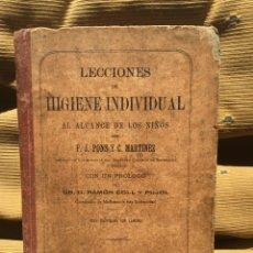 Libros antiguos: LECCIONES DE HIGIENE INDIVIDUAL AÑO 1885. Lote 166605980