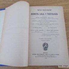 Libros antiguos: TRATADO TEORICO PRACTICO DE MEDICINA LEGAL Y TOXICOLOGIA. PEDRO MATA TOMO IV. Lote 167503956