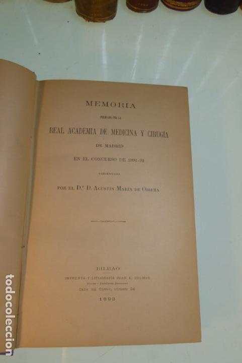 Libros antiguos: Tratamiento de la neumonía. A. M. De Obieta. Imprenta y litografía de Juan E. Delmas. Bilbao. 1893. - Foto 3 - 167832884