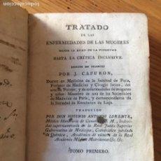 Libros antiguos: TRATADO DE LAS ENFERMEDADES DE LAS MUGERES, J.CAPURON 1818. Lote 168277620