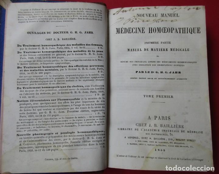 Libros antiguos: MEDICINE HOMEOPATHIQUE. G.H.G.JAHR. PARIS 1855.TOMO I.HOLANDESA. 404 PÁGINAS. 18 X 12 CM. EN FRANCÉS - Foto 3 - 168437136