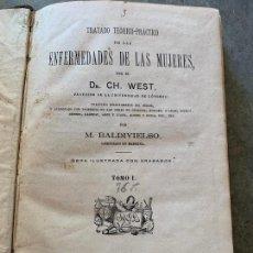 Libros antiguos: TRATADO DE LAS ENFERMEDADES DE LAS MUJERES. CURIOSOS GRABADOS. 1873 ENCUADERNACION A MEDIA PIEL. Lote 168439012