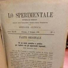 Libros antiguos: ANTIGUO TMO DE LA REVISTA MEDICA LO SPERIMENTALE DEL NUM 1 AL 35 - EN ITALIANO, AÑO 1895.. Lote 168672132