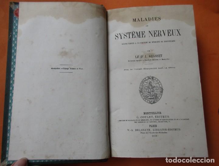Libros antiguos: MALADIES DU SYSTÈME NERVEUX. J. GRASSET. PARIS 1878. HOLANDESA. 640 PÁGINAS. 22 X 15 CM. - Foto 3 - 168706796