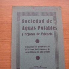 Libros antiguos: SOCIEDAD DE AGUAS POTABLES DE VALENCIA, AGUAS FILTRADAS A ALTA PRESION. Lote 168764924