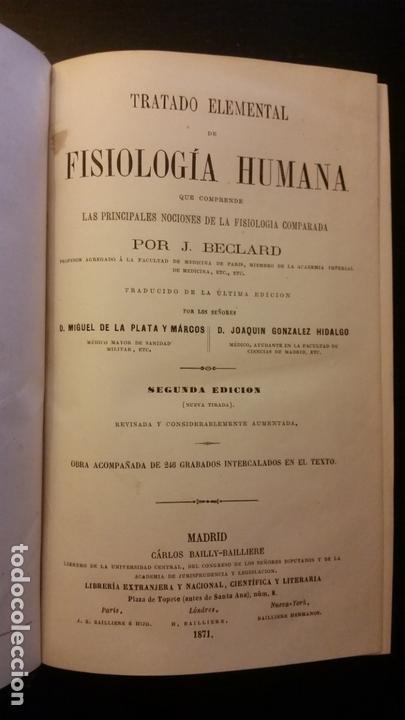 Libros antiguos: 1871 - BECLARD - Tratado elemental de fisiología humana - Foto 2 - 169682540