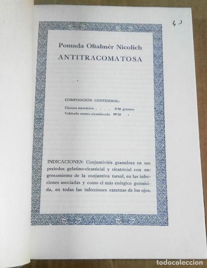 Libros antiguos: Mérida Nicolich, Las acciones farmacológicas locales en oculística, Málaga, 1928. Farmacia - Foto 4 - 169759344