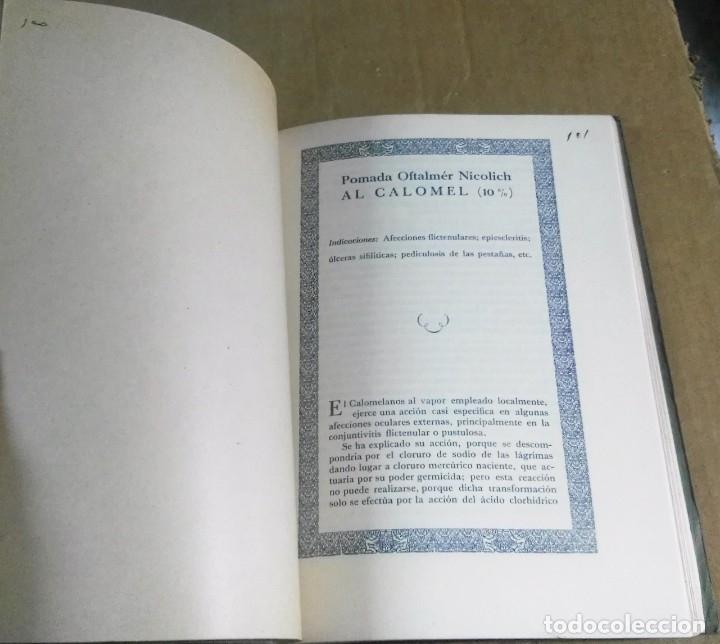 Libros antiguos: Mérida Nicolich, Las acciones farmacológicas locales en oculística, Málaga, 1928. Farmacia - Foto 6 - 169759344
