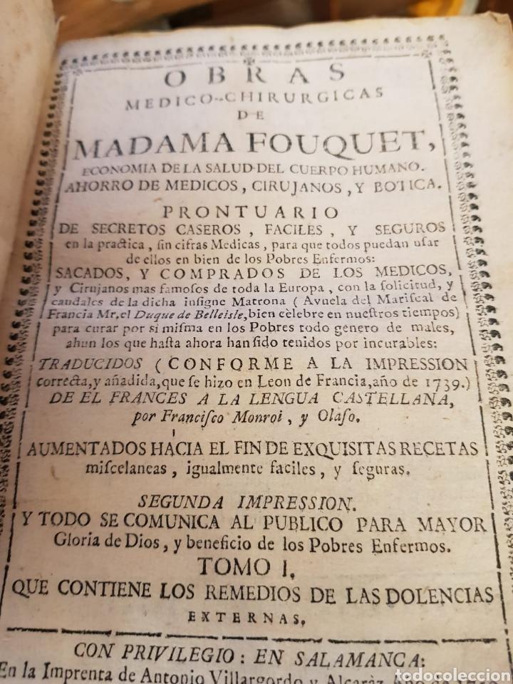 OBRAS MEDICO-CHIRURGICAS DE MADAME FOUQUET AÑO 1750 TOMOS I Y II (Libros Antiguos, Raros y Curiosos - Ciencias, Manuales y Oficios - Medicina, Farmacia y Salud)