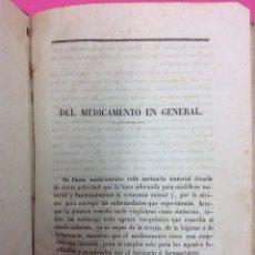 Libros antiguos: DEL MEDICAMENTO EN GENERAL AÑO 1900. Lote 170069221