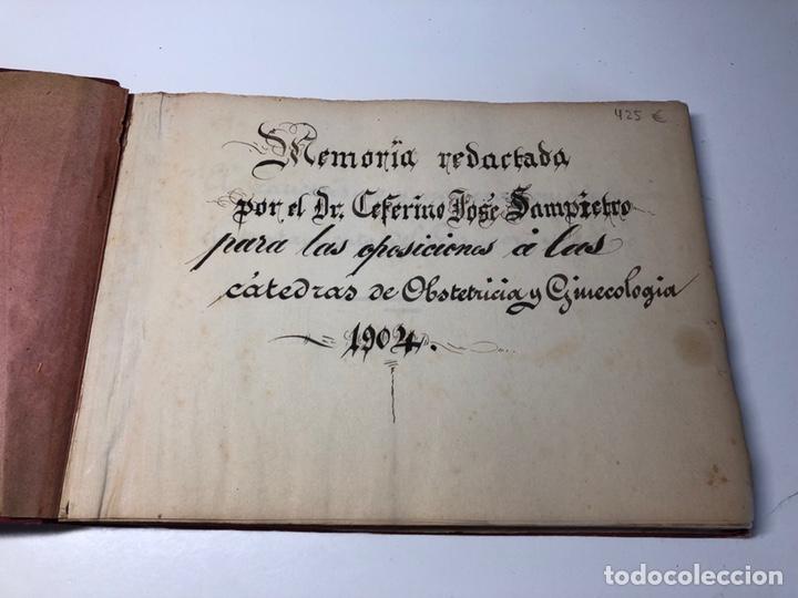 LIBRO MANUSCRITO 1904 MEMORIA DR. C. SAMPIETRO OBSTETRICIA Y GINECOLOGIA ZARAGOZA (Libros Antiguos, Raros y Curiosos - Ciencias, Manuales y Oficios - Medicina, Farmacia y Salud)