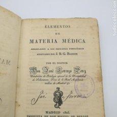Libros antiguos: ELEMENTOS DE MATERIA MÉDICA 1825. Lote 171735055