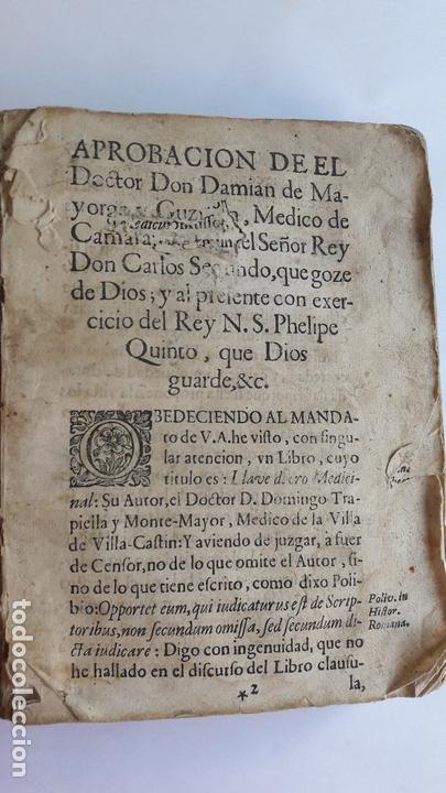 DOMINGO TRAPIELLA MONTEMAYOR: LLAVE DE ORO MEDICINAL DE LA SALUD HUMANA MADRID 1713 (Libros Antiguos, Raros y Curiosos - Ciencias, Manuales y Oficios - Medicina, Farmacia y Salud)