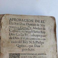 Libros antiguos: DOMINGO TRAPIELLA MONTEMAYOR: LLAVE DE ORO MEDICINAL DE LA SALUD HUMANA MADRID 1713. Lote 172121110