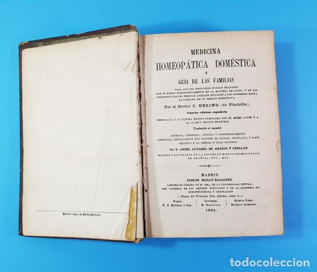Libros antiguos: MEDICINA HOMEOPATICA DOMESTICA GUIA DE LAS FAMILIAS, DOCTOR HERING, BAILLY-BAILLIERE 1866 579 PAG - Foto 3 - 172252587