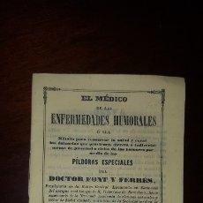 Libros antiguos: EL MÉDICO DE LAS ENFERMEDADES HUMORALES - DOCTOR FONT Y FERRÉS - 1847. Lote 172658984