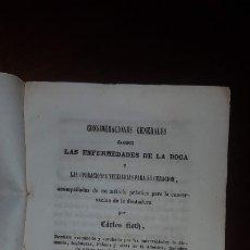 Libros antiguos: CONSIDERACIONES GENERALES SOBRE LAS ENFERMEDADES DE LA BOCA - 1851. Lote 172964495