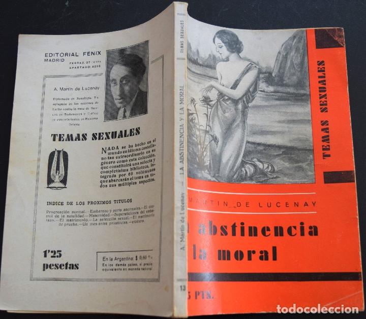 Libros antiguos: LA ABSTINENCIA Y LA MORAL - A. MARTIN DE LUCENAY - TEMAS SEXUALES Nº 13 - 1º EDICIÓN 1933 - Foto 2 - 173054683