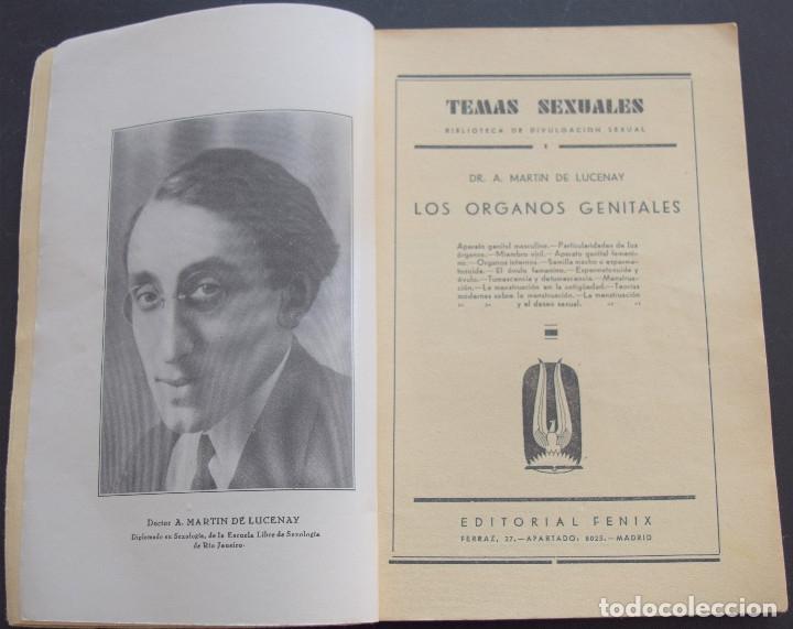 Libros antiguos: LOS ORGANOS GENITALES - A. MARTIN DE LUCENAY - TEMAS SEXUALES Nº 1 - 1º EDICIÓN 1932 - Foto 3 - 173055877