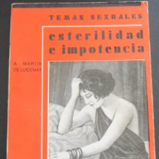 Libros antiguos: ESTERILIDAD E IMPOTENCIA- A. MARTIN DE LUCENAY - TEMAS SEXUALES Nº 27 - 1º EDICIÓN 1933. Lote 173059888