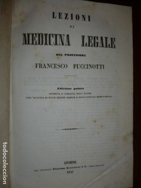 Libros antiguos: LEZIONI DI MEDICINA LEGALE-FRAMMENTI INEDITI FRANCESCO PUCCINOTTI 1847-48 LIVORNO - Foto 2 - 173482960
