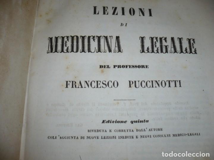 Libros antiguos: LEZIONI DI MEDICINA LEGALE-FRAMMENTI INEDITI FRANCESCO PUCCINOTTI 1847-48 LIVORNO - Foto 3 - 173482960