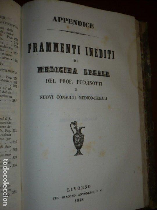 Libros antiguos: LEZIONI DI MEDICINA LEGALE-FRAMMENTI INEDITI FRANCESCO PUCCINOTTI 1847-48 LIVORNO - Foto 10 - 173482960