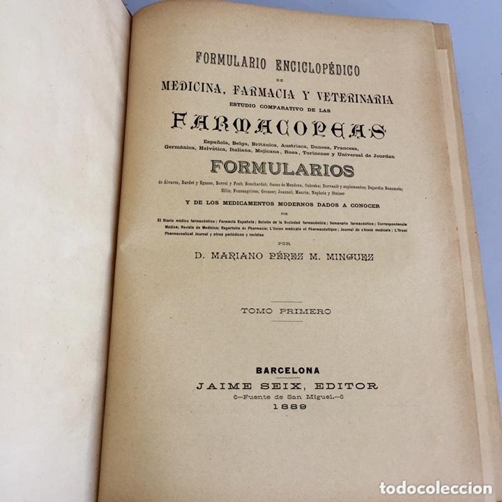 Libros antiguos: 1889 FORMULARIO ENCICLOPÉDICO MEDICINA FARMACIA VETERINARIA I y III - Foto 9 - 174011995