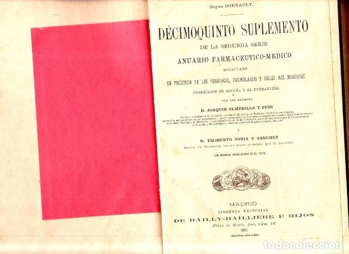 Libros antiguos: LA OFICINA DE FARMACIA ESPAÑOLA. 15º SUPLEMENTO. JOAQUIN OLMEDILLA Y PUIG. BAILLY-BAILLIERE. 1895. - Foto 2 - 174304662