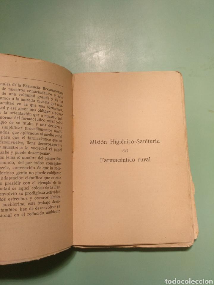 Libros antiguos: Función higiénico-sanitaria del Farmacéutico rural. Córdoba 1931. José Bayona Sánchez - Foto 3 - 175590264